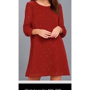 BB Dakota Dayna Wine Red Shift Dress Size Small